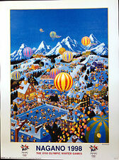 "1998 Nagano, Japan - WINTER OLYMPIC POSTER - USOC Licensed   24"" x 18"""