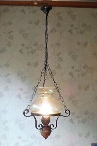 Küchenlampe Deckenlampe Hängelampe Kettenaufhängung Eichenholz Glasschirm