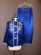 Luxurious Vtg 1940s 50s Blue Silk Asian Bird Embroidered Lounge Pajama Set Sz S