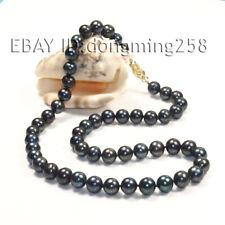 new Single Genuine Natural black round freshwater pearl necklace jewels 18""
