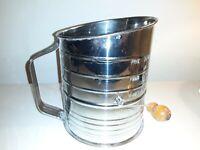 Vintage Metal Flour Sifter 5 Cup With Wood Knob Retro Kitchen, Primitive, VGC