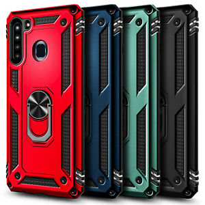 For Samsung Galaxy A21 Case, Ring Stand Phone Cover + Tempered Glass Protector
