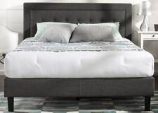 Queen Size Tufted Bed Frame Platform Upholstered Bedroom Wood Headboard Slats