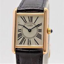 Wert 2200 € Cartier Tank Vermeil Damen Uhr 23 cm Silber Rosevergoldet Leder s...