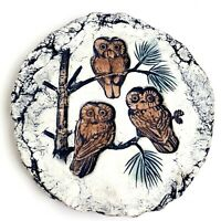 Owl Trivet Hot Plate Embossed Hand Made Hand Colored Art Signed C197