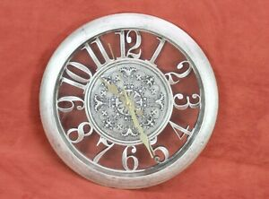 Wall Clock Home Décor Retro Brushed Antique Look Hanging Rustic Silver Battery
