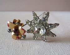 ANTIQUE LOT 2 HATPIN~RED &WHITE RHINESTONE~GOLD FACE~STAR LEAD