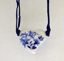 """Vintage Collectible DELFT BLUE Heart Necklace on 10"""" Knotted Cord w/ Clasp VGC"""