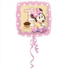 PALLONCINO 1° COMPLEANNO BIMBA Minnie Disney Rosa quadrato Addobbi Feste