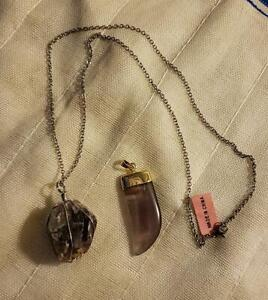 """Set of 2 Amethyst Dualtone Pendants With 1 Stainless Steel Chain 24"""" TGW 76.00"""