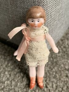 "RARE Antique German All Bisque 3"" HERTWIG Limbach ? Doll Jointed So Cute !"
