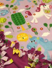 Handmade Fleece Tie-Blanket Reversible Girl Magic Unicorns Animal 58X72 -2 lyr