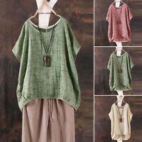 Cotton+Linen Women Summer Batwing Short Sleeve Blouse Casual Loose Tops Shirts