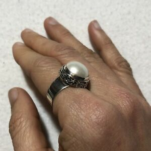 925 Sterling Silver Ring Size 8 Women Statement Natural Shell White Big Round
