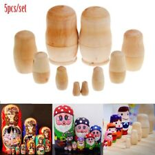 5X Cute Dolls Wooden Russian Nesting Babushka Matryoshka Hand Painted DIY Gifts-