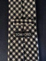 New Tom Ford Mens Necktie Tie Black White Diagonal Grid Check 3.75 X 58