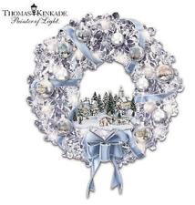 Thomas Kinkade | Holiday Brilliance Illuminated Wreath *New* Lighted Holiday Usa