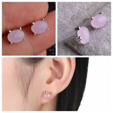 1Pair Lady Jewelry Women Ear Stud Rose Quartz Earring Silver Plated