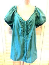 FADED GLORY BLOUSE SIZE 3X (22/24W) BLUE SHORT SLEEVES 100% COTTON