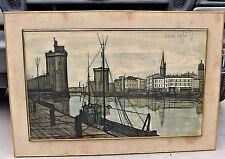 Large Bernard Buffet, Lithographic Print Le Port de la Rochelle, 1955, Framed