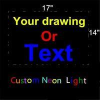 "17""X14"" CUSTOM BUSINESS LOGO REAL GLASS NEON LIGHT SIGN DISPLAY BEER BAR PUB"