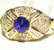 1.65ctCT 14k ORO Tanzanita Natural Diamante Vintage AAA ANTIGUO