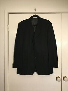Mens Black 2 piece Suit, Jacket and Pants, Karl Lagerfeld Size 42 REG