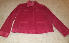 J JILL Womens Ruby Red Long Sleeve Button Front Corduroy Jacket Sz Large