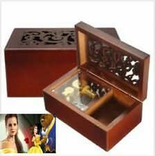 Solid Wood Miniature Hollow Jewelry Music  Box: Beauty And The Beast