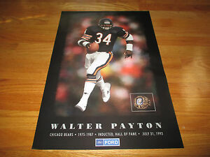 Rare FORD WALTER PAYTON No 34 CHICAGO BEARS 1993 INDUCTED HALL of FAME Poster