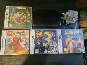 Nintendo 3DS XL Black Console + 4 Games + Charger + 4GB Memory Card. Free P+P.