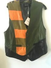 Saxony Collection Leather and Knit Vest Med. New