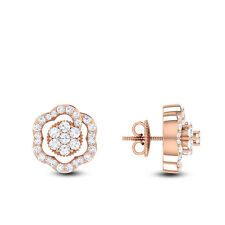 0.67 Cts Round Brilliant Cut Natural Diamonds Stud Earrings In Fine 14Carat Gold