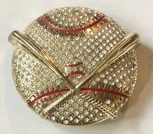NEW Baseball & Bats Gold Belt Buckle | Sparkly Rhinestones Sports Fan Bling