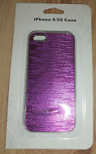 IPhone 5/5S Case-Siler with Purple Stripe Pattern-New in Original Box!