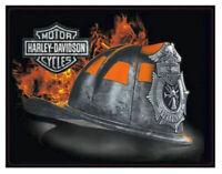 Harley-Davidson® Firefighter Helmet Embossed Tin Sign | Bar & Shield 2011251