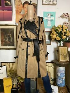 Luii Anthropologie Sz L Tan Faux Leather Trim Belted Trench Jacket Coat Women