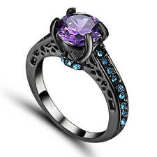 Women's Round Cut Purple Amethyst Wedding Ring 18K Black Gold Filled Size 8