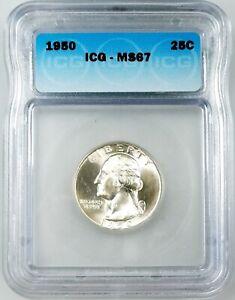 1950 Washington Quarter certified MS 67 by ICG! Sharp!