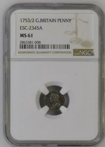 1753/2 GEORGE II MAUNDY PENNY 1 PENCE NGC MS 61.  SEABY SCALE: R (RARE).