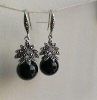 Genuine natural black Chalcedony 12mm in 925 sterling silver dangle earrings