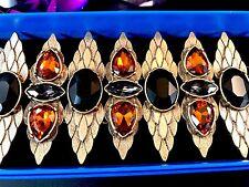 Black Rhinestone Retroglam Link Bracelet Nib Rj Graziano Gold-Tone Smoked Topaz