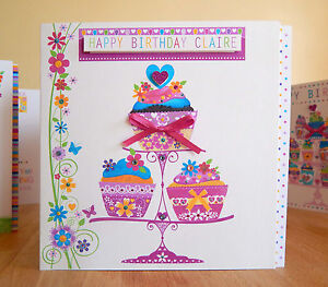 Cupcake Birthday card for girl female personal with name/age Special girly card