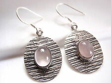 Rose Quartz Etched Lines Earrings 925 Sterling Dangle Drop Oval Ellipse New