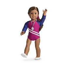 American Girl GYMNASTICS OUTFIT for DOLLS + CHARM - DOLL NOT INCLUDED pink blue