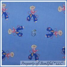BonEful FABRIC FQ Cotton Quilt VTG Baby Blue Pink Cowboy Girl Nursery Paris Bebe