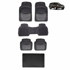 SOLID BLACK SEMI CARPET FRONT REAR FLOOR MATS & BLACK TRUNK MAT 6PC SET FOR SUVS