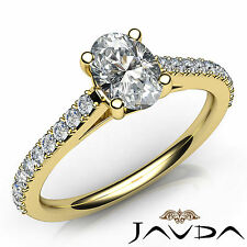 Oval Diamond Engagement GIA F VS1 Shared Prong Set Ring 18k Yellow Gold 0.80Ct