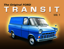"10888 - Ford Transit 6"" x 8"" Vintage Metal Steel Advertising Sign Plaque"