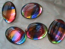 144 Vintage IRIS Cabs 10x8 MM Ovals Flat Back Called Stained Glass Rhinestones